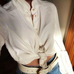 Vintage 100% silk ivory blouse